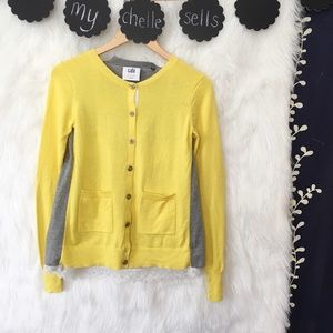 CAbi Belle Yellow Gray Colorblock Lace Cardigan-F7